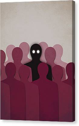 Different And Alone In Crowd Canvas Print
