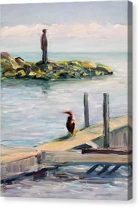 Canvas Print featuring the painting Different Views by Mary Schiros
