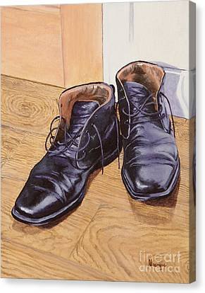 Black Boots Canvas Print - Difficult To Fill by Alacoque Doyle