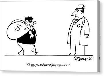 Regulations Canvas Print - Digibuy A Robber With A $ Bag Speaks To A Police by Charles Barsotti