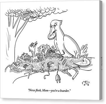 Digibuybaby Birds Sitting In Nest Of Junk Speak Canvas Print by Farley Katz