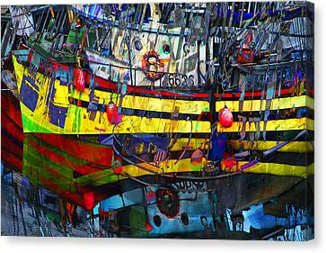 Water Vessels Canvas Print - Digital Abstract Composition Of A Yellow Boat In A Harbor by Randall Nyhof
