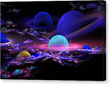 Digital Abstract Fractal Art Planet Spheres Canvas Print by Keith Webber Jr