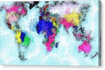 Digital Art Map Of The World Canvas Print