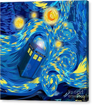 Digital Art Phone Booth Starry The Night Canvas Print by Three Second