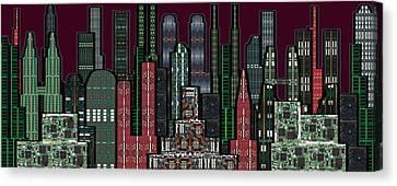 Digital Circuit Board Cityscape 5b - Wine Sky Canvas Print by Luis Fournier