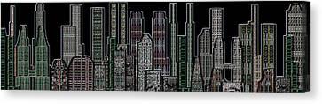 Digital Circuit Board Cityscape 5d - Blacktops Canvas Print by Luis Fournier