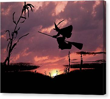 Wiccan Canvas Print - Digital Composite Sunset And Silhouette by Vintage Images