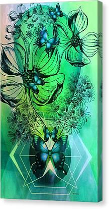 Digital Floral 14-3 Canvas Print by Maria Urso