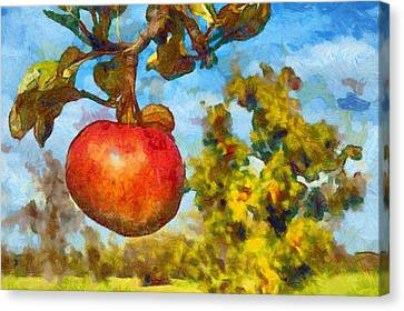 Digital Painting - Red Apple On Branch Of Tree Canvas Print by Matthias Hauser