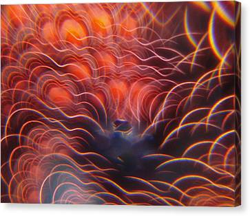 Digital Red Hearts On Fire Canvas Print
