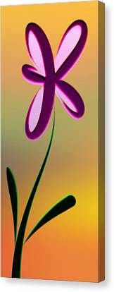 Digitally Created Dark Purple And Pink Flower Canvas Print by Gina Lee Manley