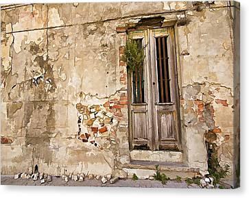 Dilapidated Brown Wood Door Of Portugal II Canvas Print by David Letts