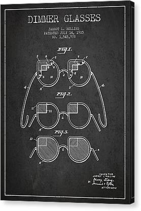 Dimmer Glasses Patent From 1925 - Dark Canvas Print