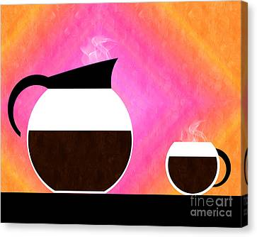 Sorbet Canvas Print - Diner Coffee Pot And Cup Sorbet by Andee Design