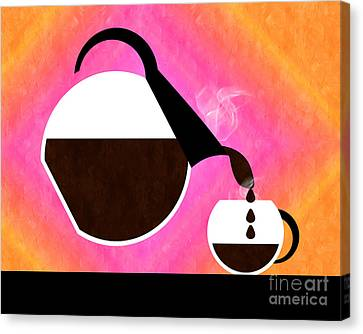 Sorbet Canvas Print - Diner Coffee Pot And Cup Sorbet Pouring by Andee Design