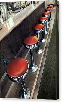 Diner Stools Canvas Print by Cindy McIntyre