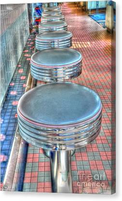 Diner Stools Canvas Print by Kathleen Struckle