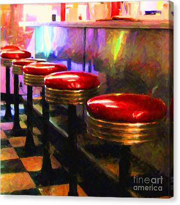 Diner - V2 - Square Canvas Print by Wingsdomain Art and Photography