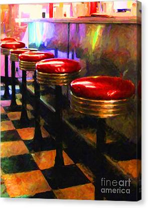 Diner - V2 Canvas Print by Wingsdomain Art and Photography