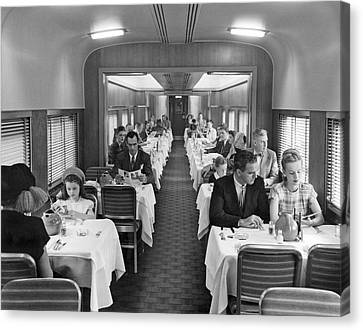 Diners In Railroad Dining Car Canvas Print