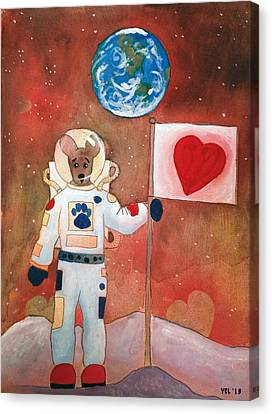 Dingo Love Conquers The Moon Canvas Print by Yvonne Lozano