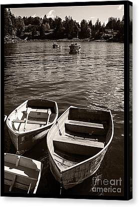 Dingy Docked In Seal Cove Maine Canvas Print by Edward Fielding