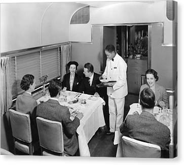 Dining Car On Denver Zephyr Canvas Print by Underwood Archives