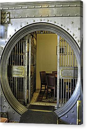 Dining In The Vault At Metals Bank Canvas Print by Image Takers Photography LLC - Laura Morgan