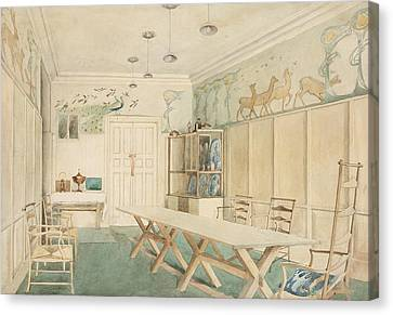 Dining Room At 37 Cheyne Walk, Chelsea Canvas Print by Charles Robert Ashbee