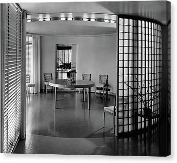 Glass Wall Canvas Print - Dining Room In Mr. And Mrs. Alfred J. Bromfield by Hedrich-Blessing