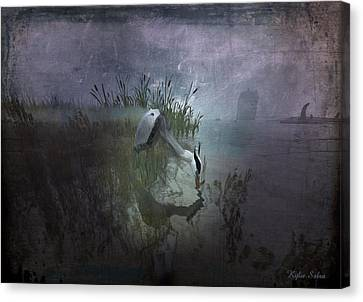 Canvas Print featuring the digital art Dinner Alone by Kylie Sabra