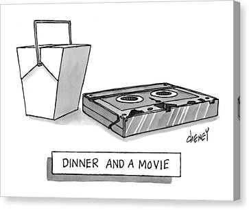 Dinner And A Movie Canvas Print by Tom Cheney