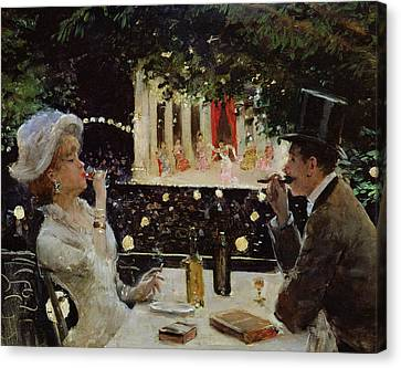 Dinner At Les Ambassadeurs Canvas Print by  Jean Beraud