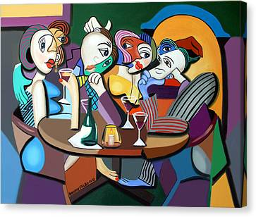 Dinner At Mario's Canvas Print by Anthony Falbo