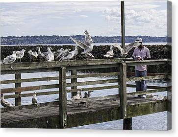 Dinner At The Marina Canvas Print by Cathy Anderson