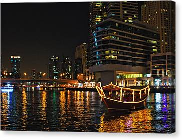 Dinner Cruise Dubai Canvas Print by John Swartz