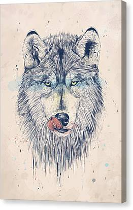 Wolf Canvas Print - Dinner Time by Balazs Solti