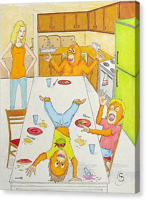 Dinner With Orangutans Canvas Print by Ryan Sweeney