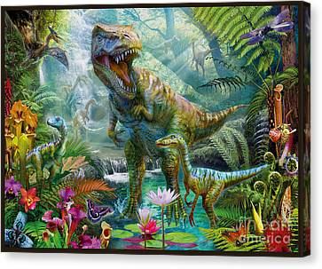 Dino Jungle Scene Canvas Print