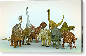 Dino Meeting Canvas Print by Jutta Maria Pusl