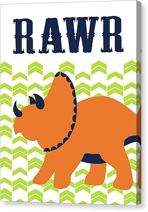 Dinosaur Canvas Print - Dino Rawr by Tamara Robinson