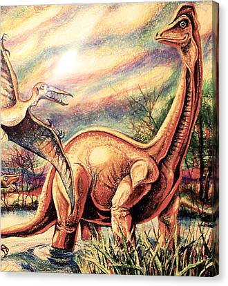 Canvas Print featuring the drawing Dinos by Linda Shackelford