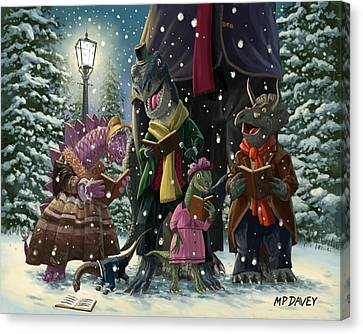 Kids Room Art Canvas Print - Dinosaur Carol Singers by Martin Davey