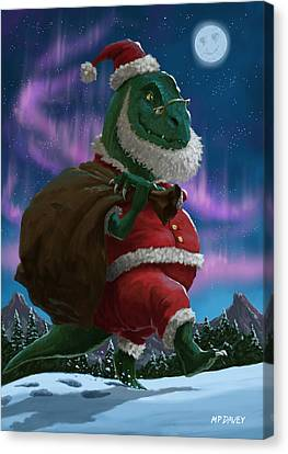 Father Christmas Canvas Print - Dinosaur Christmas Santa Out In The Snow by Martin Davey