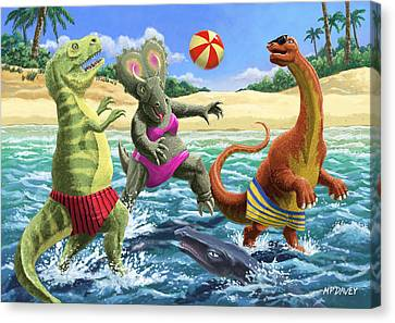 dinosaur fun playing Volleyball on a beach vacation Canvas Print by Martin Davey