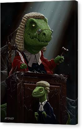 Dinosaur Judge In Uk Court Of Law Canvas Print by Martin Davey