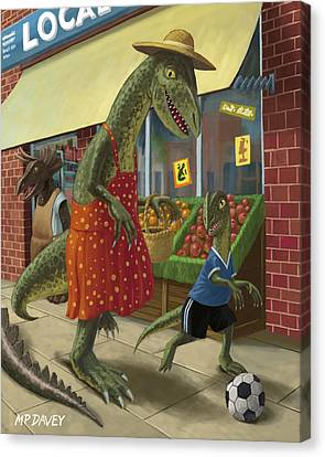 Kids Room Art Canvas Print - Dinosaur Mum Out Shopping With Son by Martin Davey