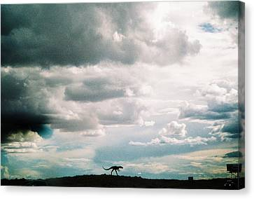 Dinosaur On The Western Horizon Canvas Print by Belinda Lee