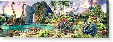 Dinosaur Volcanos Canvas Print by Steve Read
